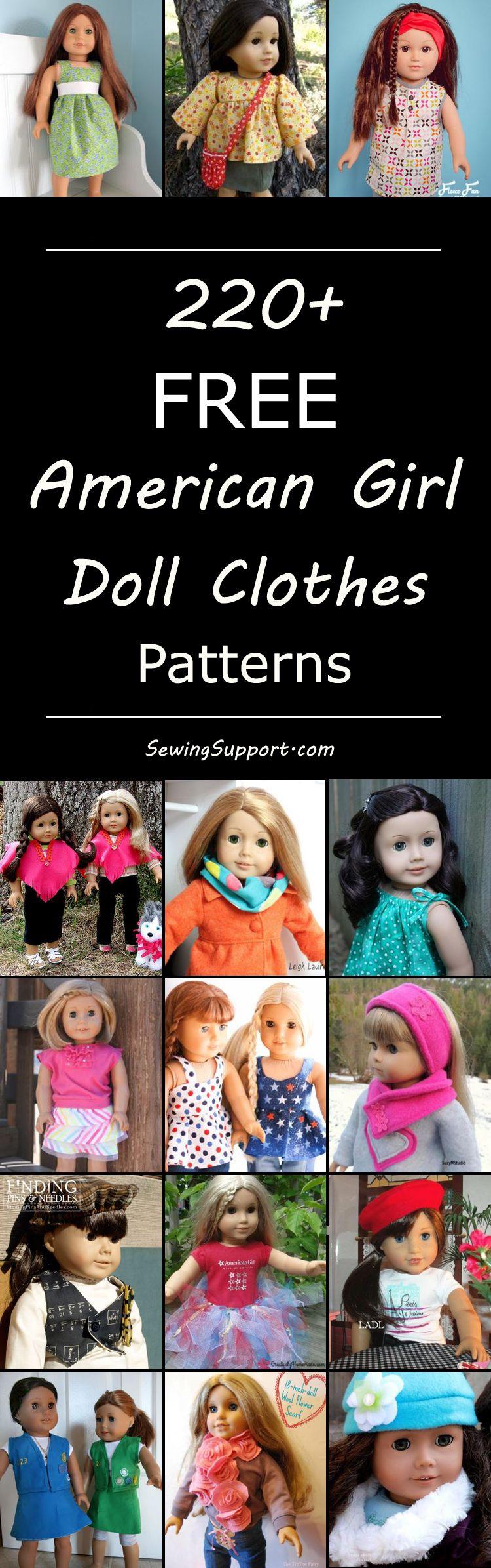 220+ Free Doll Clothes Patterns - 18 inch American Girl #americandolls