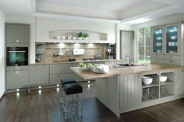 Küchenblock landhausstil  Inselküche Casa im Landhausstil, senkrecht geplankt in Grau (RWK ...