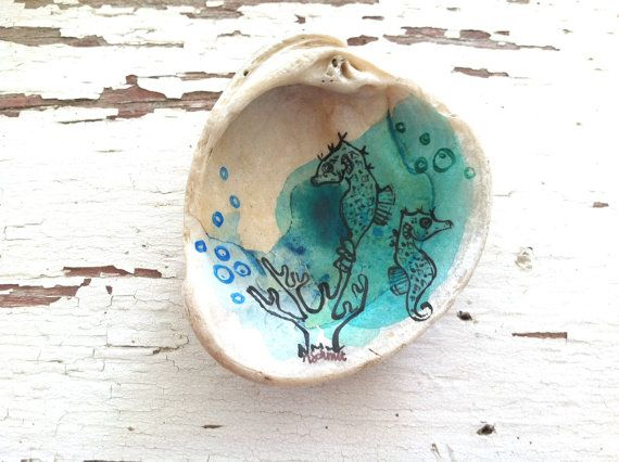 Seahorse Trinket Tray  Blue and Teal Hand by WatercolorSubmarine, $15.00