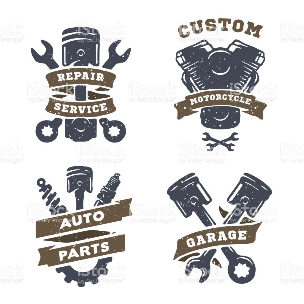 Set of auto logos, garage, service, spare parts. Garage