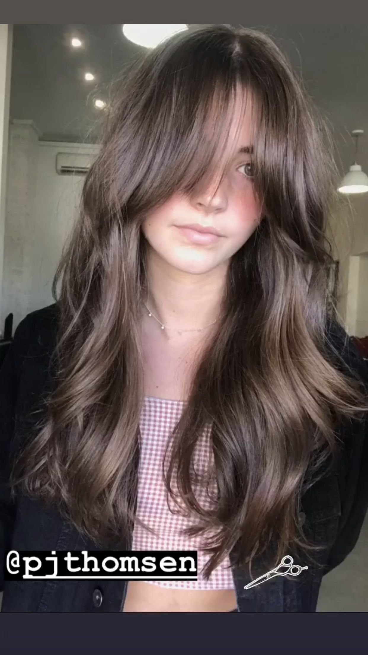Dark Brunette One Length Lob With Long Curtain Bangs And Textured Ends The Latest Hairstyles For Men And Women 2020 Hairstyleology Brunette Hair Color Medium Length Hair Styles Short Hair With Bangs