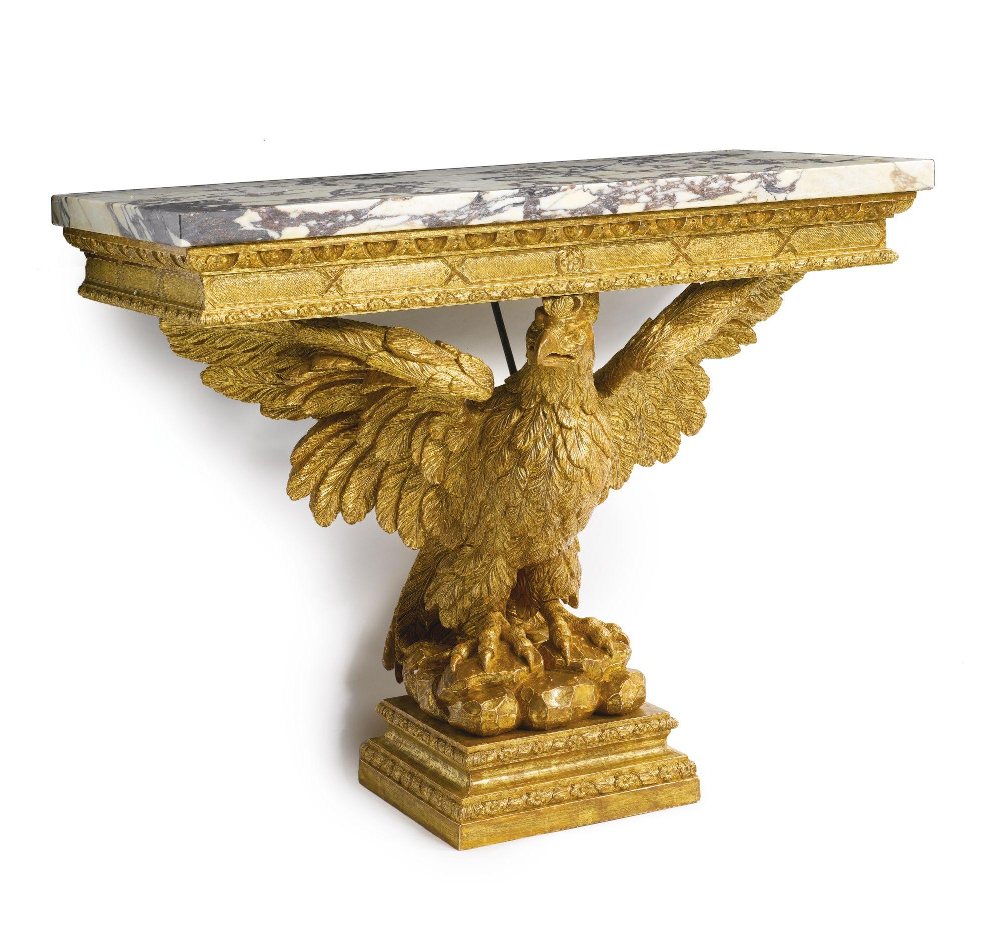 C1740 A George Ii Giltwood Marble Top Eagle Form Console Table Circa 1740 Estimate 20 000 30 000 Usd Lot English Furniture Console Table Classic Furniture