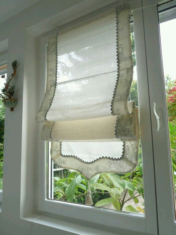 Sheer roman shade with scalloped bottom drapery styles for Roman shades for large windows