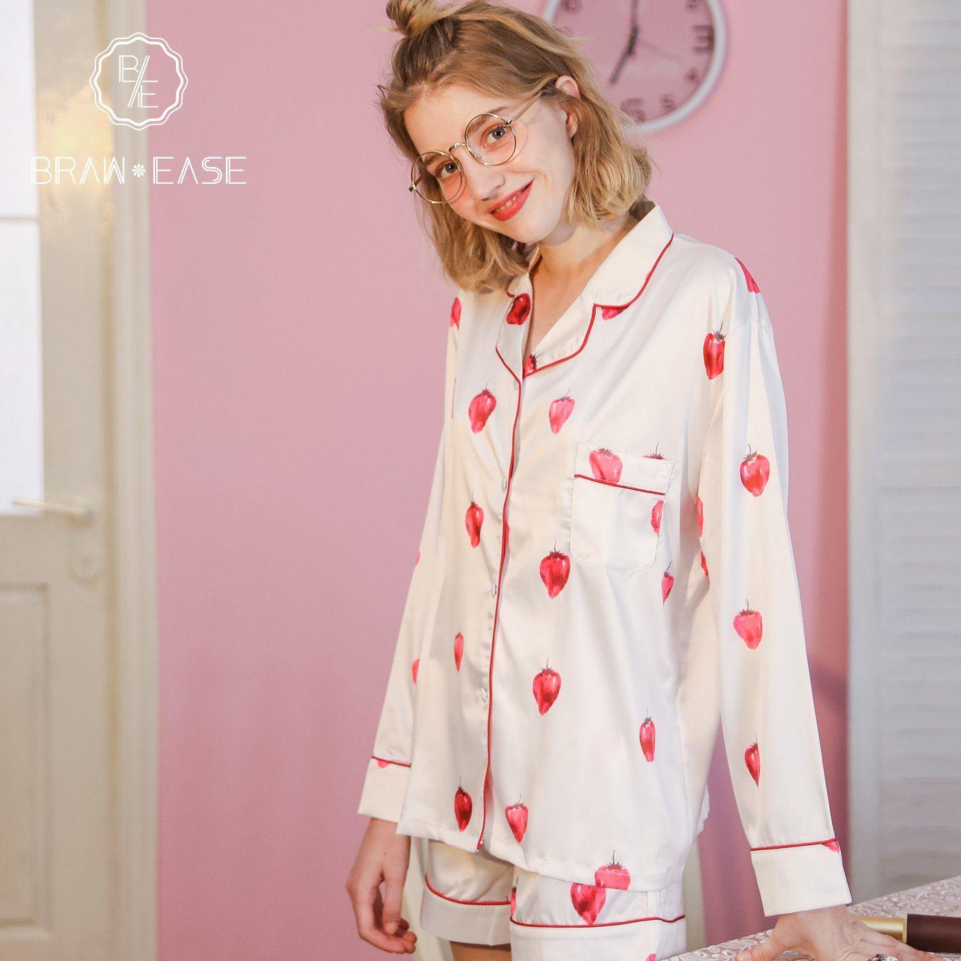 381da74196a Womens Strawberry Satin Button Up Long Sleeve Short Pajama Set in ...