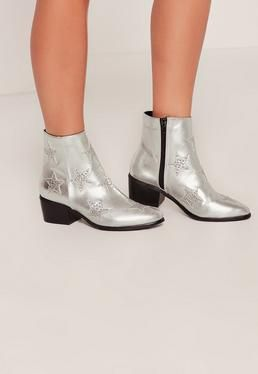 Silver Star Studded Ankle Boots