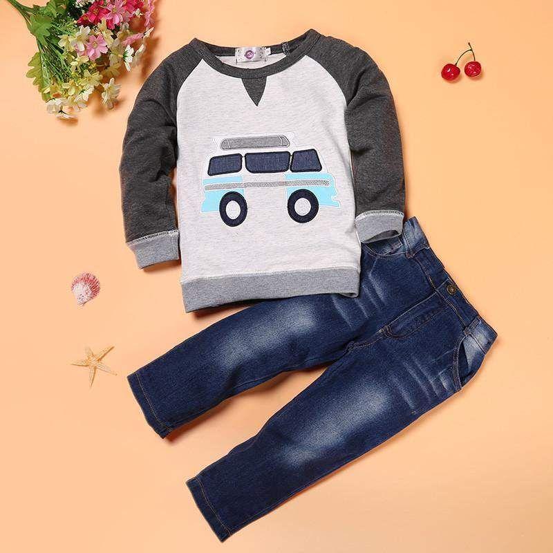Efaster 2Pcs Toddler Girls Boys Letter Print Tops+Denim Pants Outfits Set