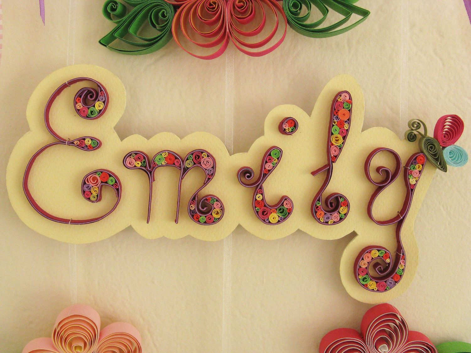 Name banner custom wall names quilled baby letters for Deco quilling