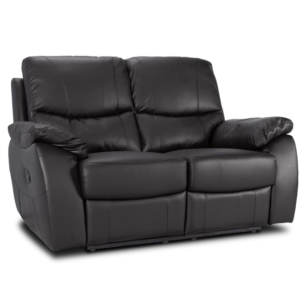 2 Seater Leather Recliner Sofa Black Cushions Furniture Seat Living