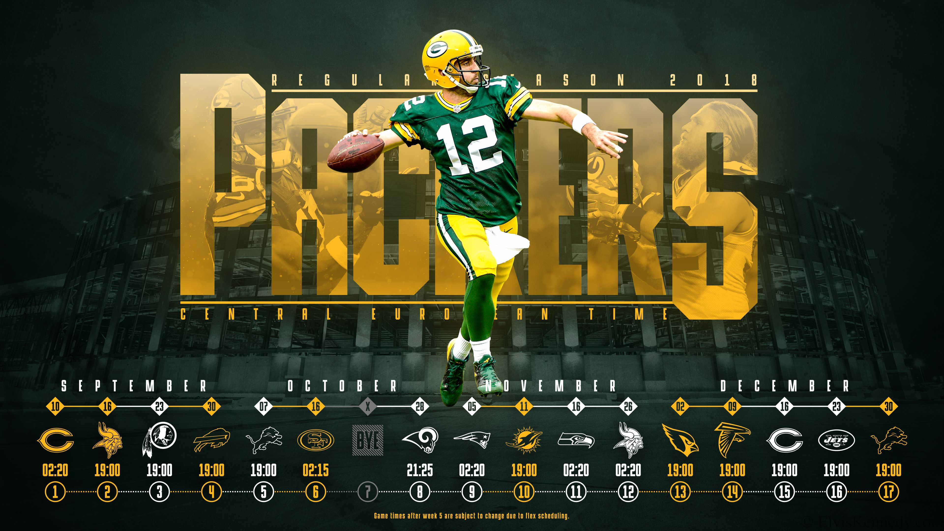 Schedule wallpaper for the Green Bay Packers Regular