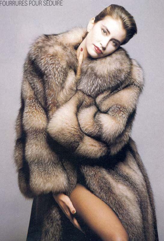 Long Thick Crystal Fox Fur Coat | @ fur hats & coats