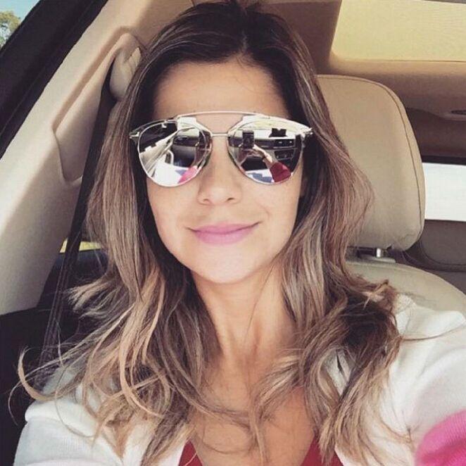 Refletido óculos mulheres marca Designer Cat Eye óculos de sol de Metal  espelhado Lens óculos de sol para homens e mulheres óculos e672cf2a6b