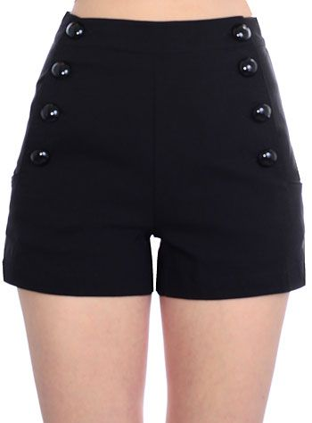 Pin-Up Noir High-Waisted Shorts by Voodoo Vixen Clothing, Clothing, Black