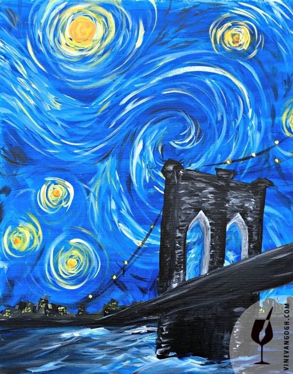 Starry Night Over Brooklyn Deirdra Luedke VineVanGogh Brooklyn StarryNight VanGogh Paint Sip NYC - Sip and Paint Locations