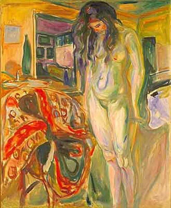 dvard Munch, Modelo junto a silla de mimbre, 1919-21. Óleo sobre lienzo, 122,5 x 100 cm, Museo de Munch, Oslo