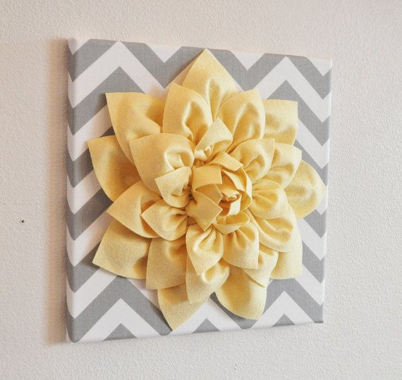 Wall Flower Light Yellow Dahlia on Gray and White by bedbuggs | Para ...