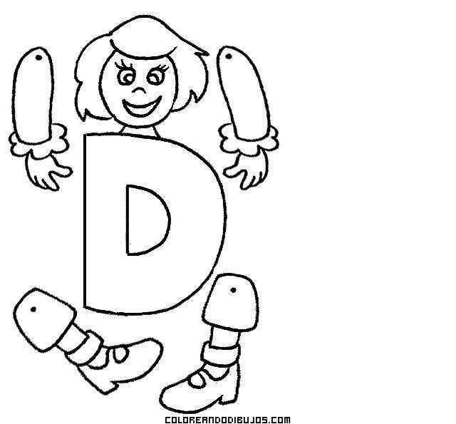 Letra D articulada para recortar y colorear | Abecedarios ...