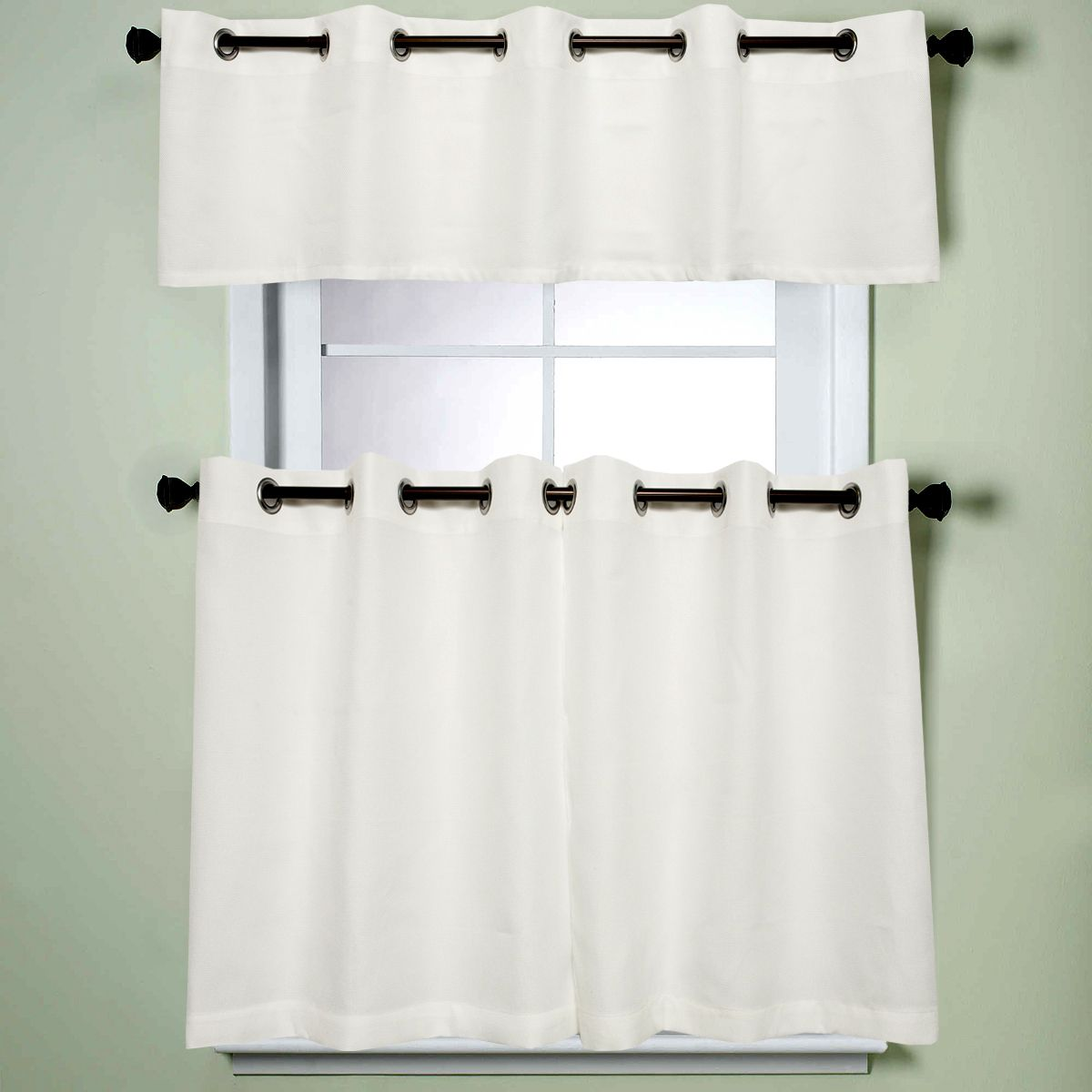N Modern Sublte Textured Solid White Kitchen Tiered Valance Curtains ...