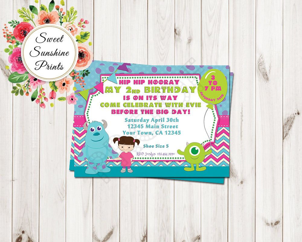 Monsters Inc Birthday Party Invitation Girl Mike Boo Sully