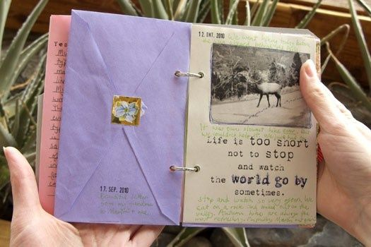 Keep wedding cards (or any cards) by punching in holes and making a book. LOVE.