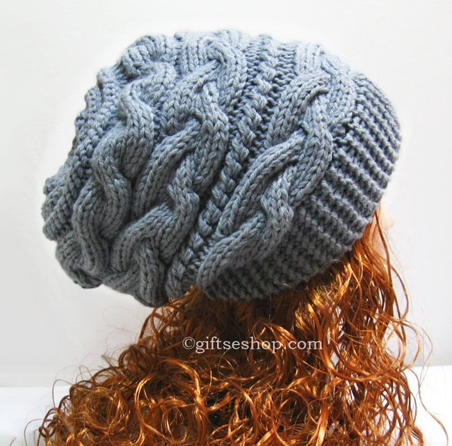 Slouchy Hat Knitting Pattern Slouchy Beanie Women Hat Thick