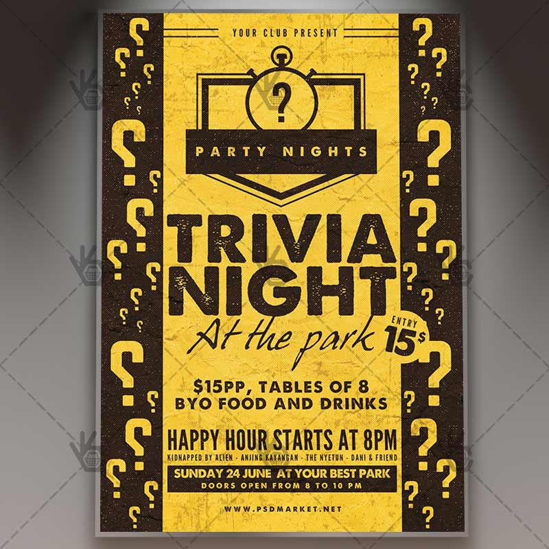 Trivia Night - Premium Flyer PSD Template #bar #championship - free quiz template