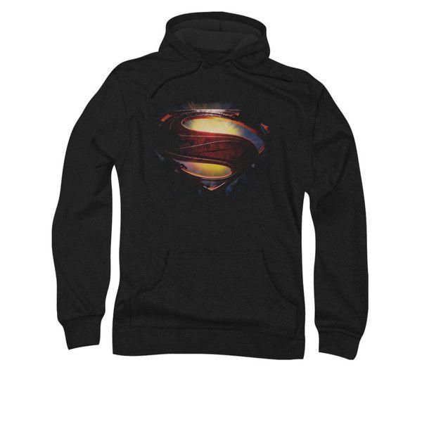 Superman Man of Steel Grungy Shield Mens Pullover Hoodie