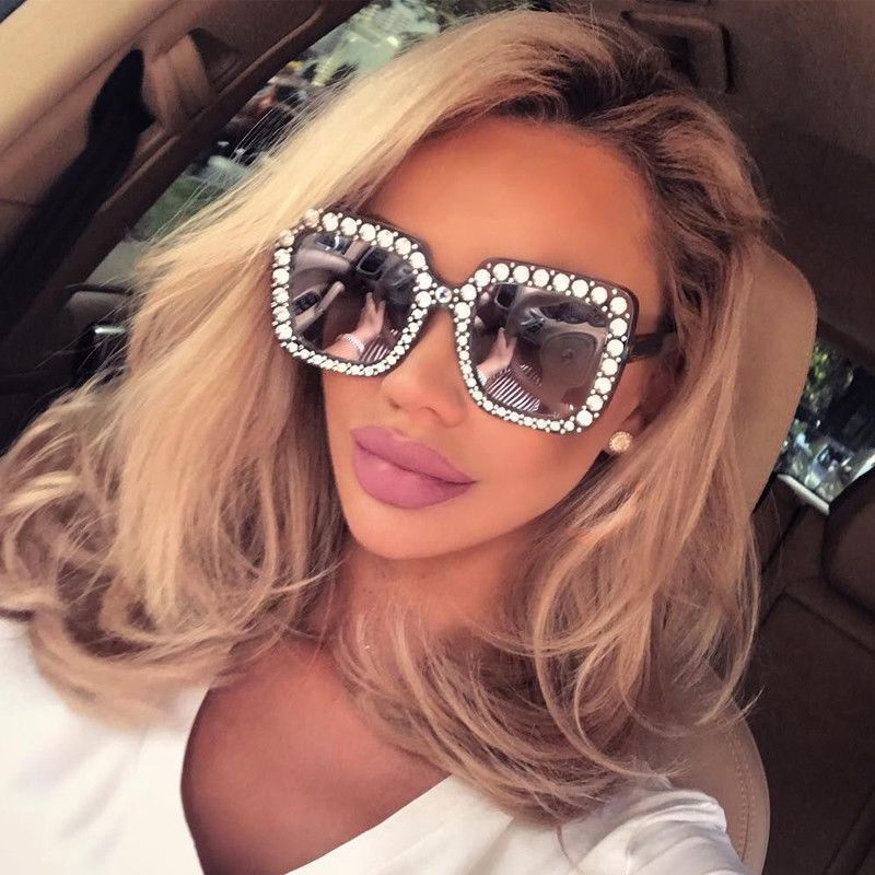 d5328f88f5a4 Oversized Square Frame Bling Rhinestone Sunglasses Women Fashion Shades 2018