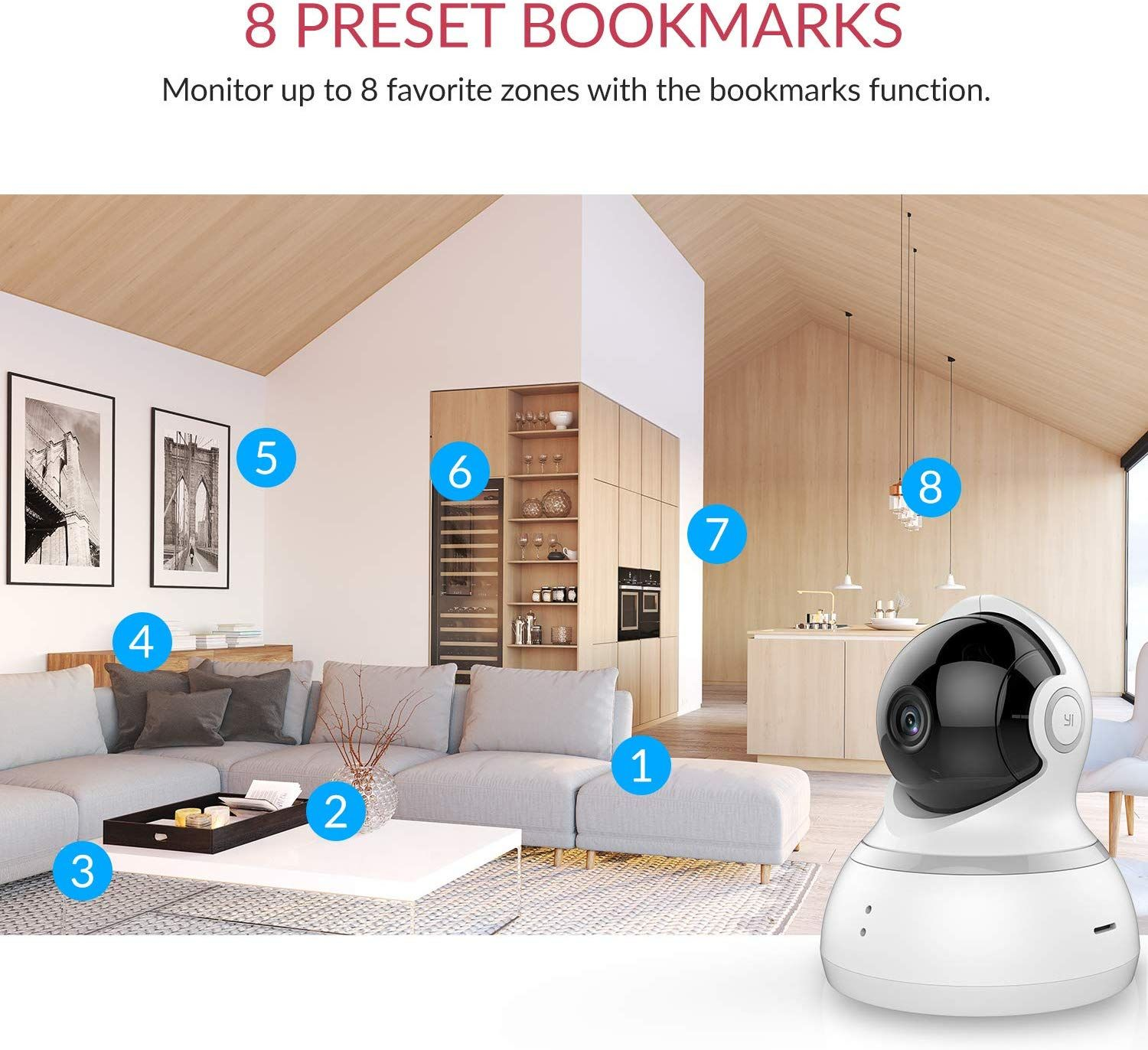 YI Dome Camera 1080p HD Pan//Tilt//Zoom Wireless IP Security Surveillance System