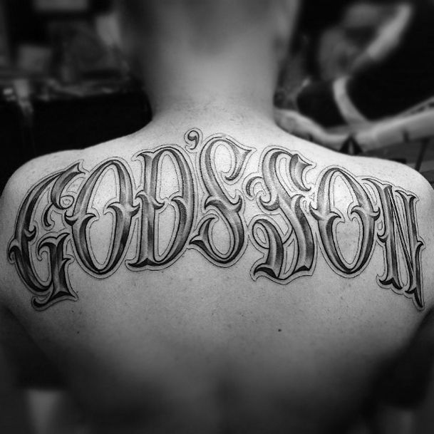 50 Old English Tattoos For Men: Ivachavez-tattoo-back-custom- Back Tattoo Script