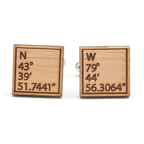 Latitude Longitude Cufflinks  GPS Coordinates Gifts  Wood