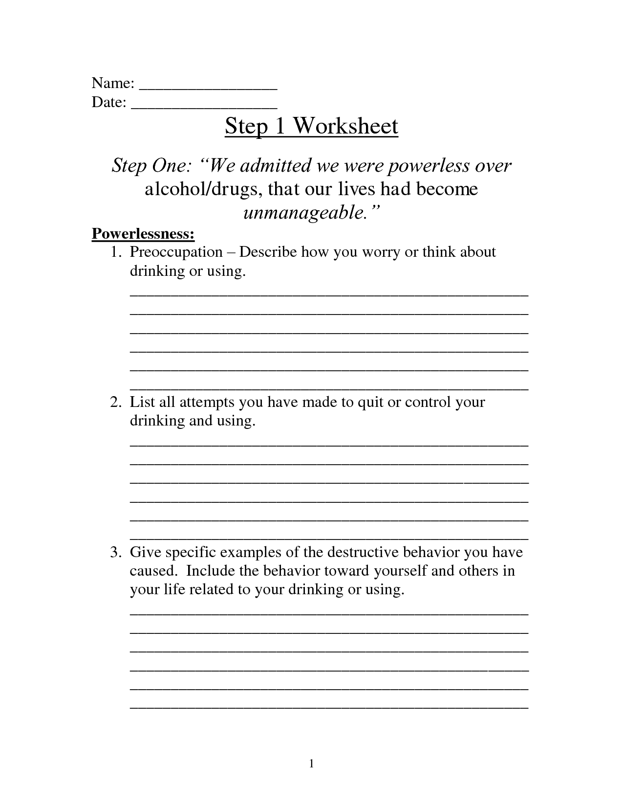 Printable Aa Step 4 Worksheets Worksheets For All