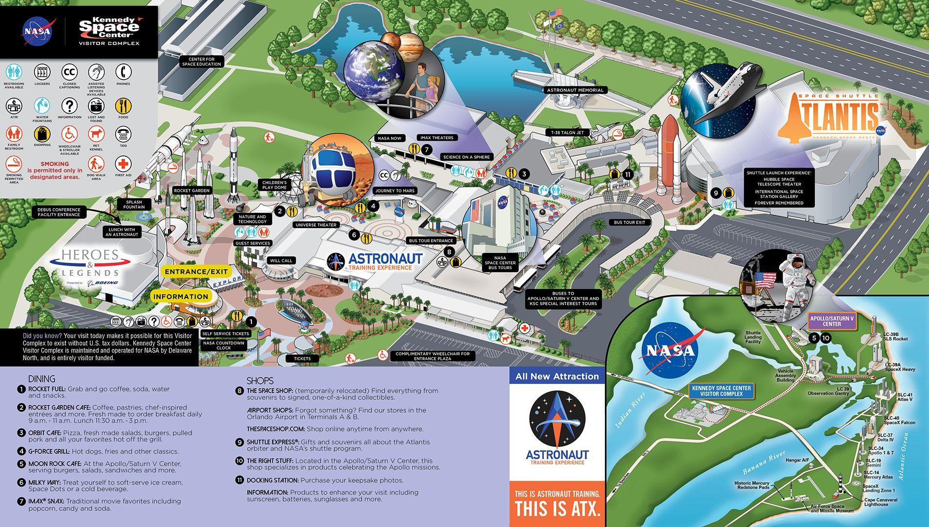 Resultado de imagem para mapa kennedy space center 2019