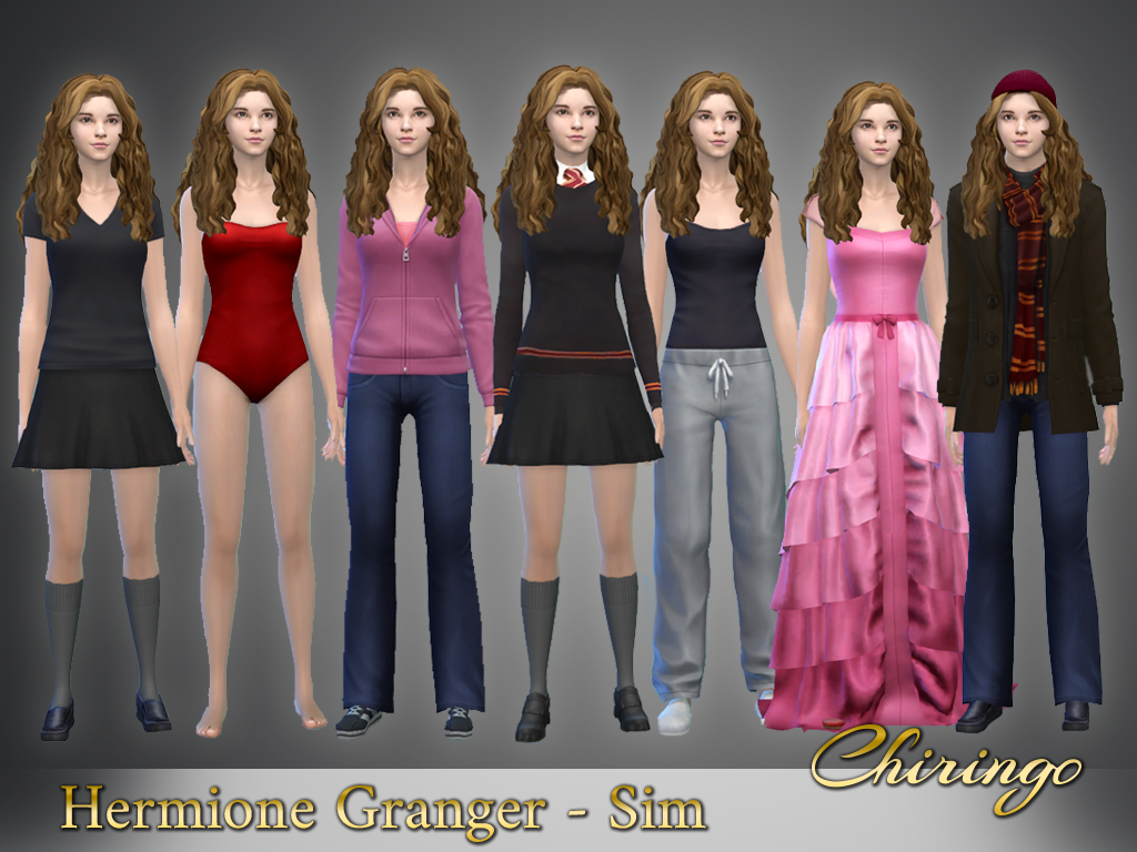 The Sims 4 Realistic Hermione Granger Sim Chiringo On Patreon Sims 4 Sims Slytherin Clothes
