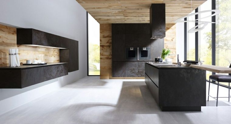 Cucina Nera E Legno Moderna Ed Elegante Cucina Elegante Legno
