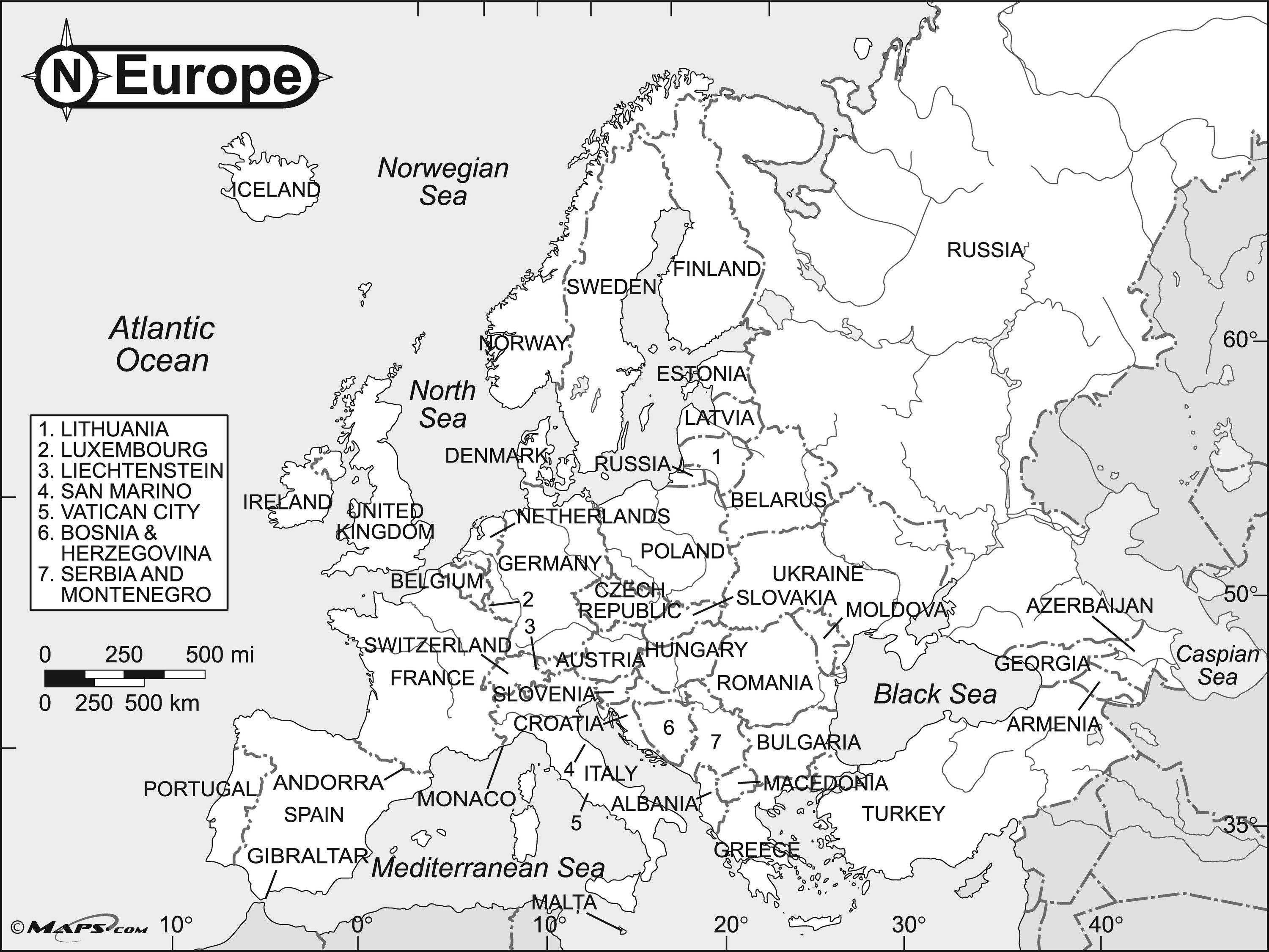 Map Of Europe Black And White Printable With Names Valid