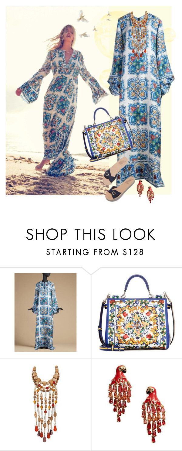"""""""DolceGabbana 2016 Kaftan"""" by jacque-reid ❤ liked on Polyvore featuring Dolce&Gabbana, Yves Saint Laurent, Kate Spade, katespade, saintlaurent, dolcegabbana and 1stdibs"""