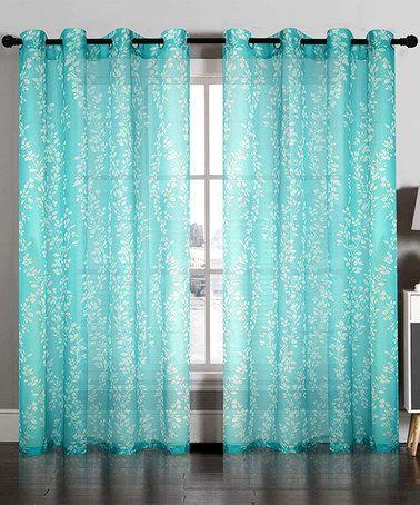 Aqua Blue Semi Sheer Floral Curtain Panel
