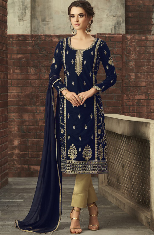 5b7094f4b19 Royal Blue Designer Heavy Embroidered Velvet Pant Suit in 2019 ...