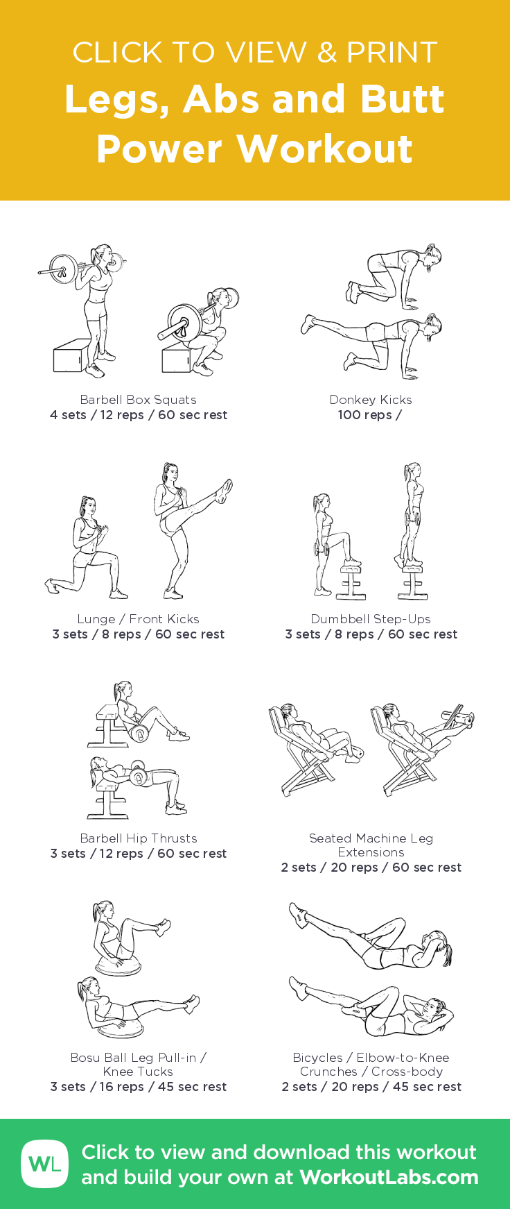 Legs, Abs and Butt Power Workout – illustrated exercise plan created