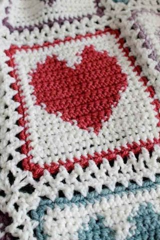 Scrap Hearts Afghan Crochet Pattern   Manta, Colchas y Tejido