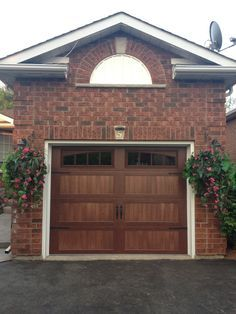 @C.H.I. Overhead Doors Model 5216 Faux Wood Steel Carriage House Style Garage  Doors In Mahogany Accents Woodtone With Stockton Glass U0026 Flat Black Su2026 ...