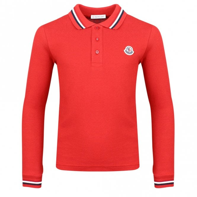 Moncler Red Long Sleeve Polo Shirt In 2020 Red Polo Shirt Long Sleeve Polo Shirt Long Sleeve Polo