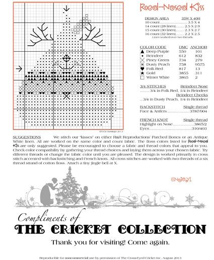 The Cricket Collection Our Gift To You Cross Stitch Freebies Cross Stitch Christmas Ornaments Cross Stitch Patterns Christmas