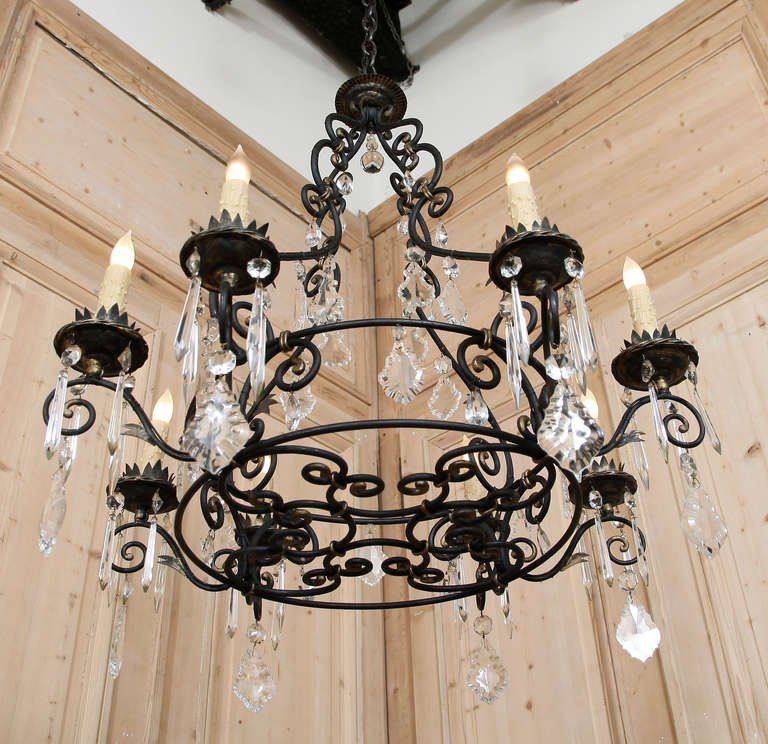 Cool Wrought Iron And Crystal Chandelier Fancy 22 For Your