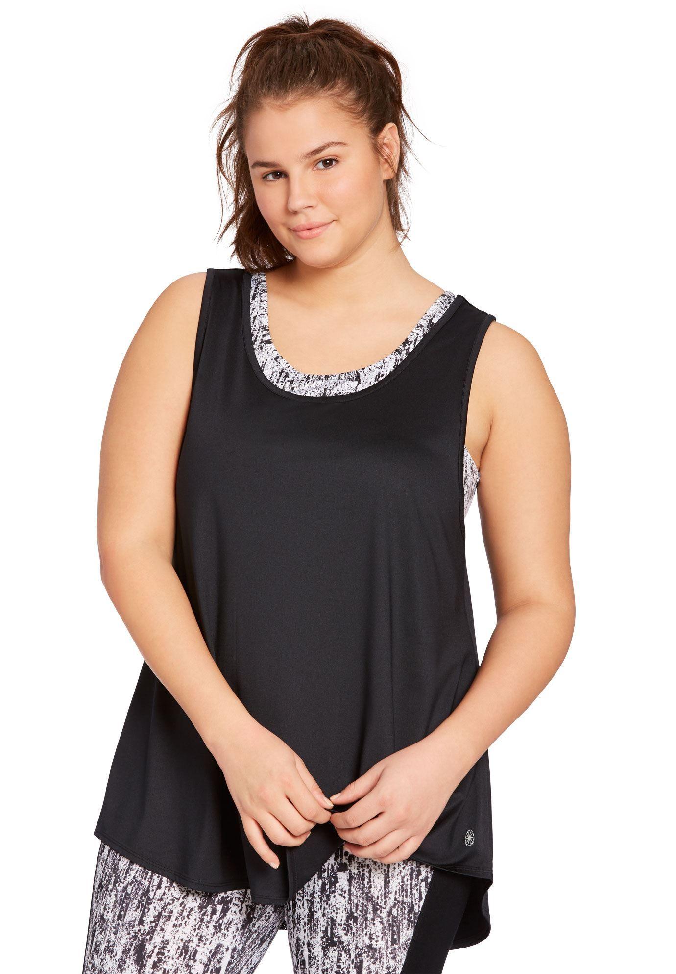 Layered look mesh bra tank by fullbeauty SPORT® Women's