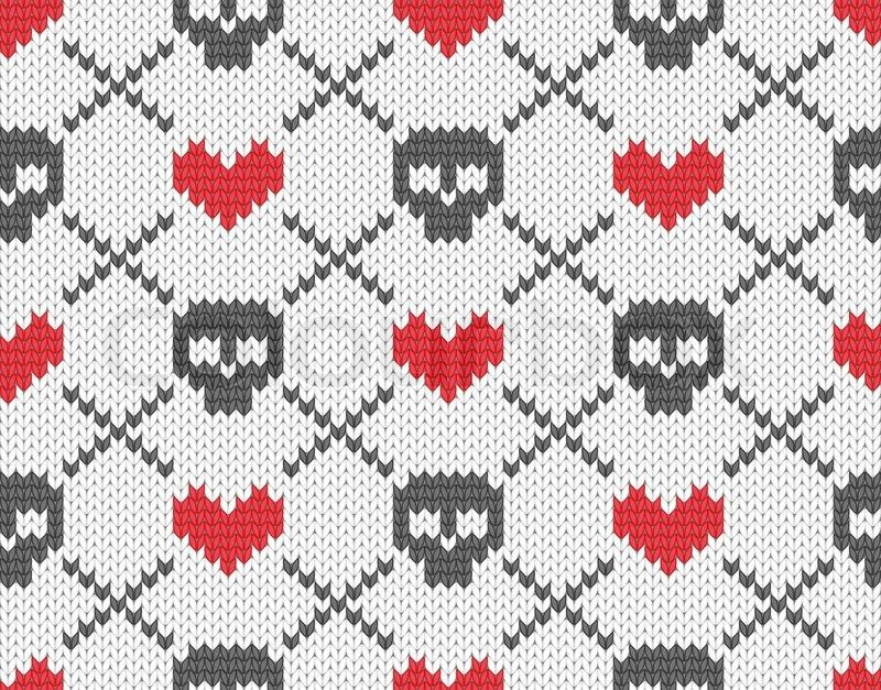 Stock vector of 'Knitted pattern with skulls' | Knitty Stitch ...