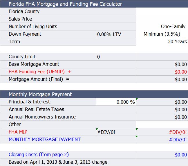 Florida Fha Loan Calculator Fha Loans Fha Loan Calculator Fha Mortgage