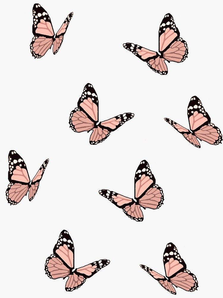 Peach Butterflies Sticker
