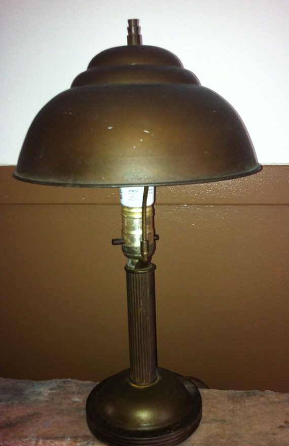 Desk Lamp From 1940s Round Brown Metal Domed Shade