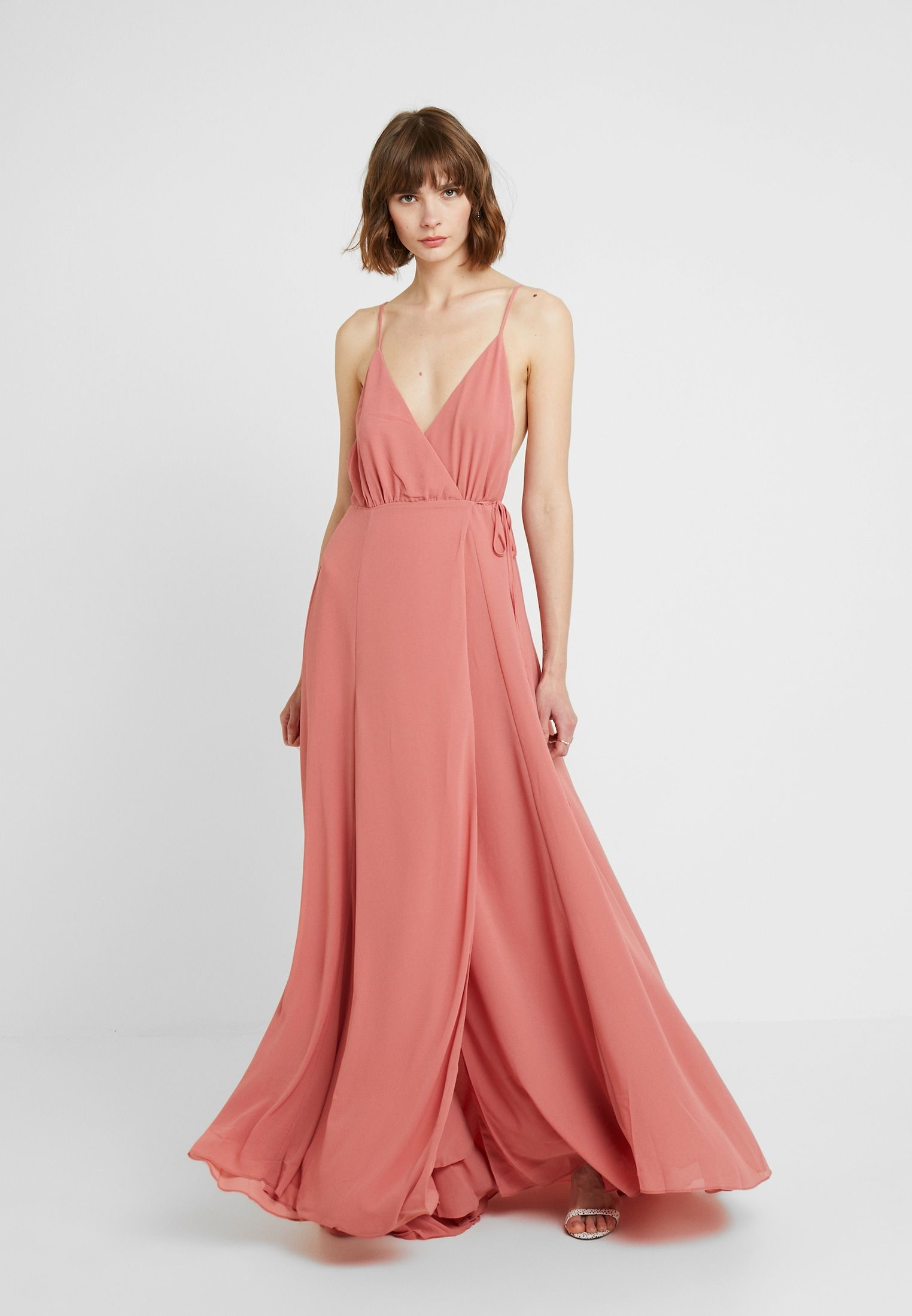 SOLID WRAP DRESS - Robe longue - raspberry @ ZALANDO.CH